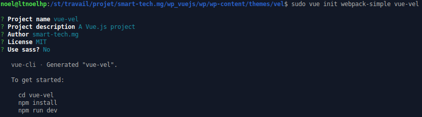 Création de l'application Vue avec webpack-simple