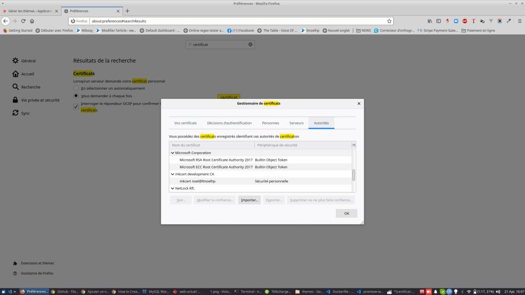 Le CA généré par mkcert dans Firefox