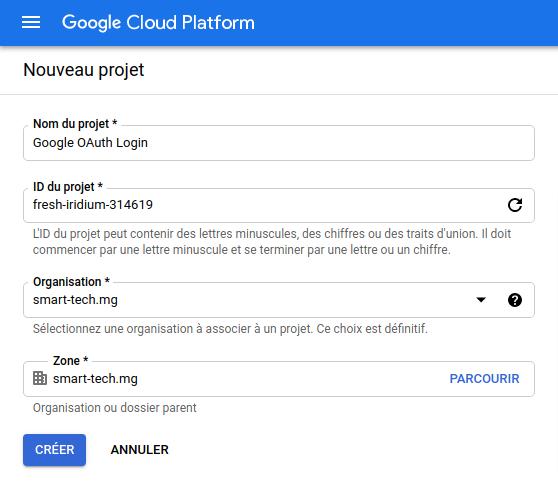Création d'un projet API Google