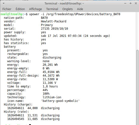 Vérification de l'état de santé d'une batterie de laptop sous Ubuntu avec upower