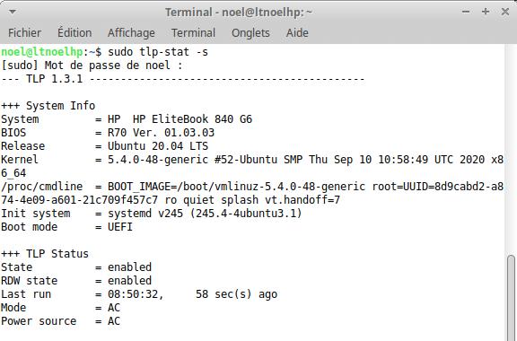 commande tlp-stat pour voir le statut de l'optimisation de la batterie sous Ubuntu