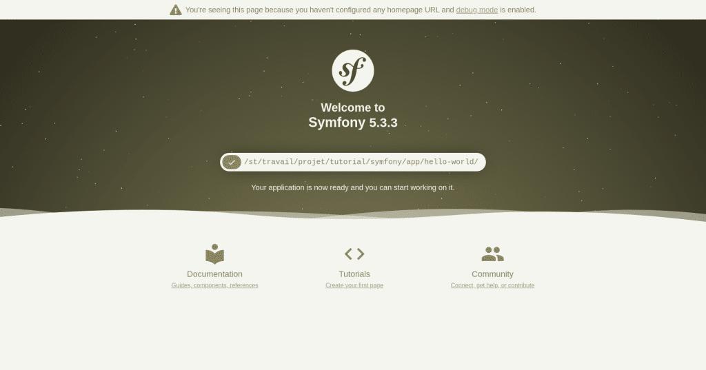 Ecran après la création projet sous Symfony